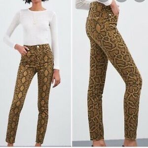 Zara • Brown Snakeskin High-Rise Skinny Jean Sz 4